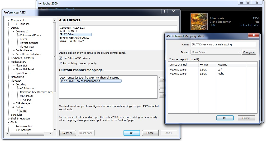 настройки ASIO параметров JPLAY в плеере фубар2000