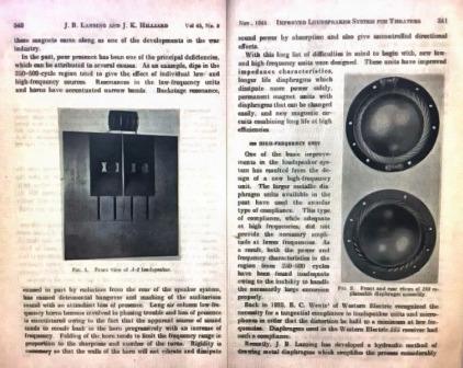 Часть статьи Лансинга-Хиллиарда о рупорной акустике